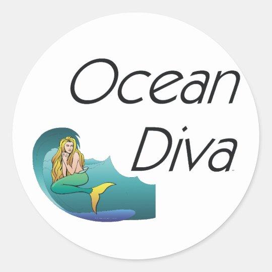 TEE Ocean Diva Classic Round Sticker