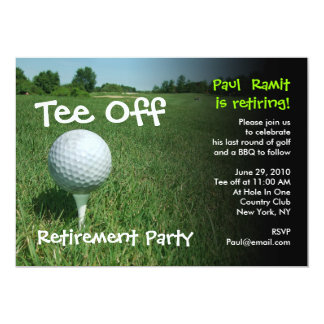 "Tee Off Golf Retirement Party Invitation 5"" X 7"" Invitation Card"