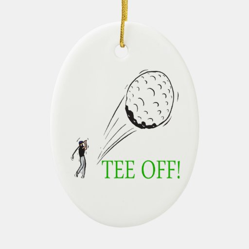 Tee Off Double-Sided Oval Ceramic Christmas Ornament
