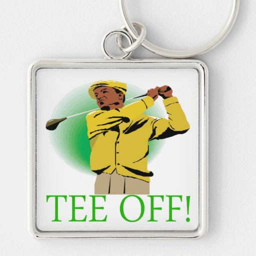 Tee Off Silver-Colored Square Keychain