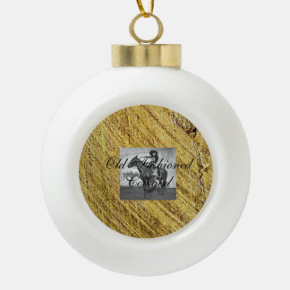 TEE Old Fashioned Cowgirl Ceramic Ball Christmas Ornament
