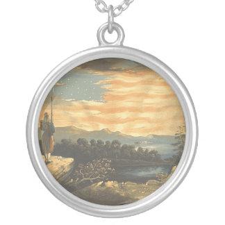 TEE Patriotic Sky Round Pendant Necklace