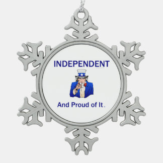 TEE Proud Independent Snowflake Pewter Christmas Ornament
