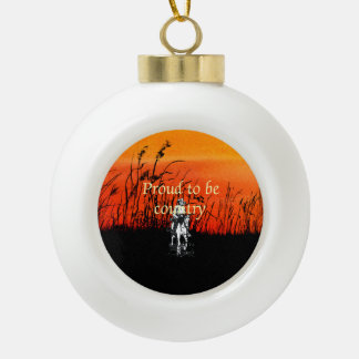 TEE Proud to be Country Ceramic Ball Christmas Ornament