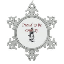 TEE Proud to be Country Snowflake Pewter Christmas Ornament