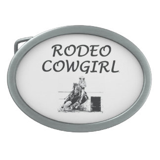 TEE Rodeo Cowgirl Oval Belt Buckle