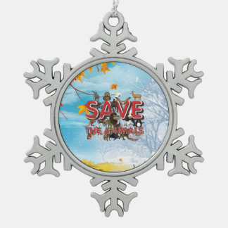 TEE Save the Animals Snowflake Pewter Christmas Ornament