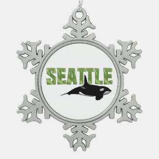 TEE Seattle Snowflake Pewter Christmas Ornament