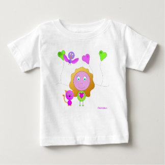 tee-shirt baby girl cat pink bird green heart baby T-Shirt