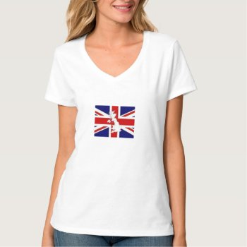 Tee Shirt Britain Flag Womens V Neck Nano by creativeconceptss at Zazzle