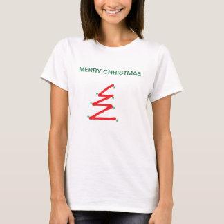 TEE SHIRT CHRISTMAS TREE WOMENS RED WHITE AND GREE