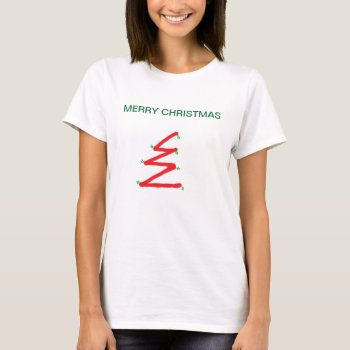 Tee Shirt Christmas Tree Womens Red White And Gree by creativeconceptss at Zazzle