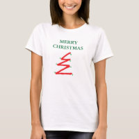 TEE SHIRT CHRISTMAS TREE WOMENS RED WHITE AND GREE
