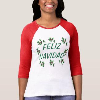 TEE SHIRT FELIZ NAVIDAD WITH HOLLY LEAVES