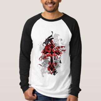 Tee-shirt man long sleeve two-tone Gothic cross-co T-Shirt