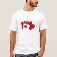 TEE SHIRT MENS CANADA MAP RED AND WHITE