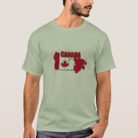 TEE SHIRT MENS CANADA MAP RED AND WHITE VALUE TEE