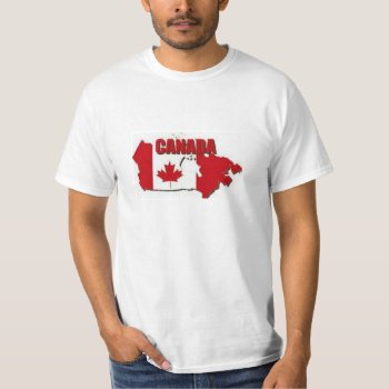 Tee Shirt Mens Canada Map Red And White Value Tee by creativeconceptss at Zazzle