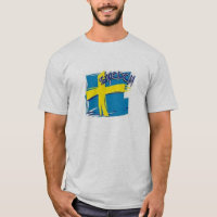 TEE SHIRT MENS SWEDEN FLAG BLUE AND YELLOW
