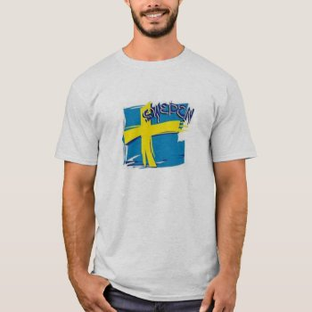 Tee Shirt Mens Sweden Flag Blue And Yellow by creativeconceptss at Zazzle