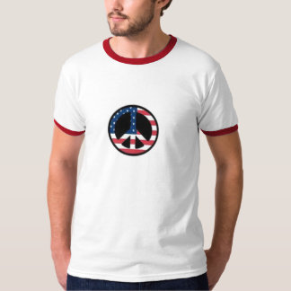 TEE SHIRT PEACE SIGN RED WHITE BLUE