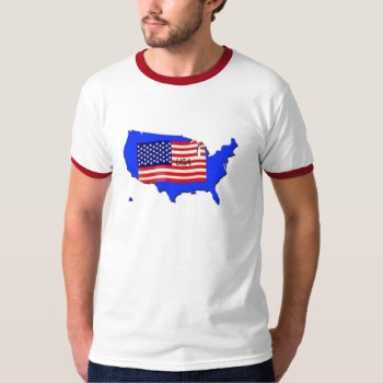 Tee Shirt Usa Map Red White And Blue by creativeconceptss at Zazzle