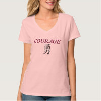 TEE SHIRT VEE NECK COURAGE SYMBOL WOMENS