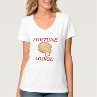 TEE SHIRT VEE NECK  FORTUNE COOKIE SYMBOL WOMENS