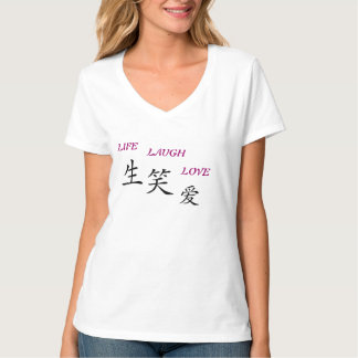 TEE SHIRT VEE NECK LIFE-LAUGH-LOVE SYMBOL WOMENS
