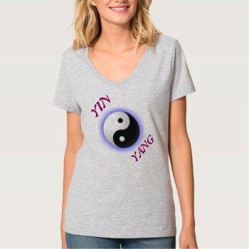 Tee Shirt Vee Neck Yin Yang Symbol Womens by creativeconceptss at Zazzle