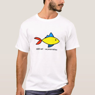 Tee Shirt with colorful reef fish caricature