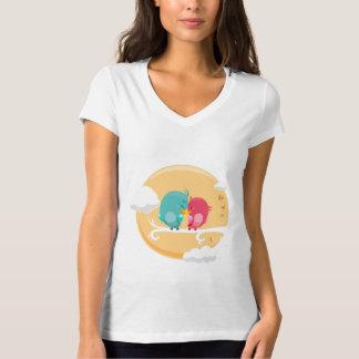 Tee-shirt Woman White Collar V Animals T-Shirt