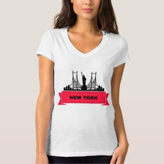 Tee-shirt Woman White Collar V New York T-Shirt