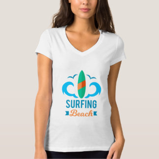Tee-shirt Woman White Collar V Surfing T-Shirt