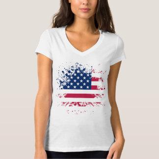 Tee-shirt Woman White Collar V the USA Flag T-Shirt