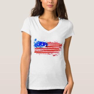 Tee-shirt Woman White Collar V the USA T-Shirt