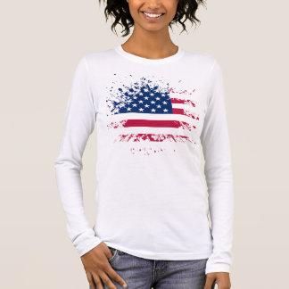 Tee-shirt Woman White Long Sleeves the USA Flag Long Sleeve T-Shirt