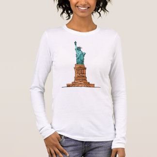 Tee-shirt Woman White Long Sleeves the USA Long Sleeve T-Shirt