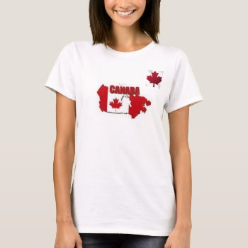Tee Shirt Women Canada Map Red And White by creativeconceptss at Zazzle