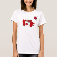 TEE SHIRT WOMEN CANADA MAP RED AND WHITE