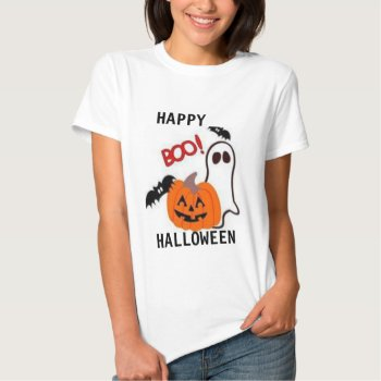 Tee Shirt Womens Boo  Tee Halloween by CREATIVEHOLIDAY at Zazzle
