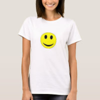 TEE SHIRT WOMENS SMILEY FACE YELLOW AND WHITE