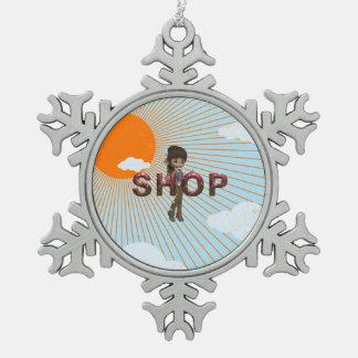 TEE Shop Snowflake Pewter Christmas Ornament