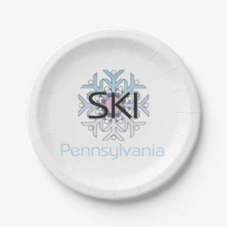 TEE Ski Pennsylvania Paper Plate