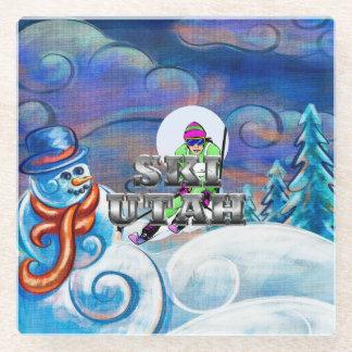TEE Ski Utah Glass Coaster