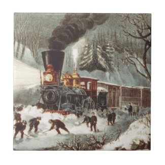 TEE Snow Train Small Square Tile