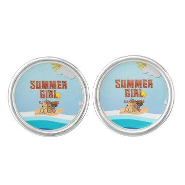 Beach Themed TEE Summer Girl Cufflinks