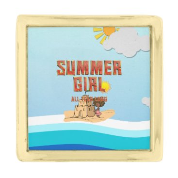 Beach Themed TEE Summer Girl Gold Finish Lapel Pin