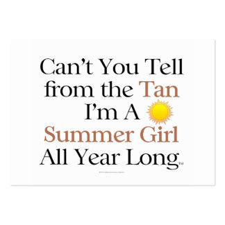 TEE Summer Girl Tan Large Business Cards (Pack Of 100)