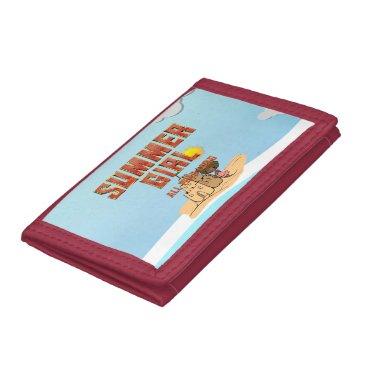 Beach Themed TEE Summer Girl Tri-fold Wallets